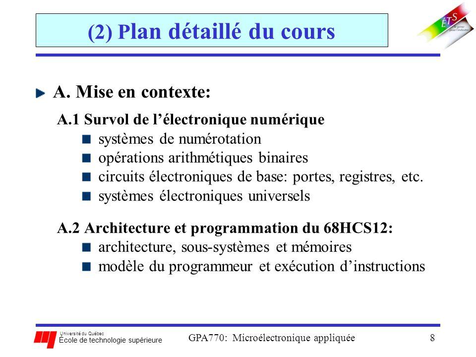 Université du Québec École de technologie supérieure GPA770: Microélectronique appliquée29 (4) Intro aux microcontrôleurs Buses: fonction: assure les connexions physiques entre les composantes du SO 3 types de buses: adresse (ADDR): transporte les adresses mémoire correspondantes aux instructions et aux données Données (DATA): transporte les instructions et les données entre la mémoire et les autres composants Contrôle (CTL): transfert des commandes de contrôle entre composants.