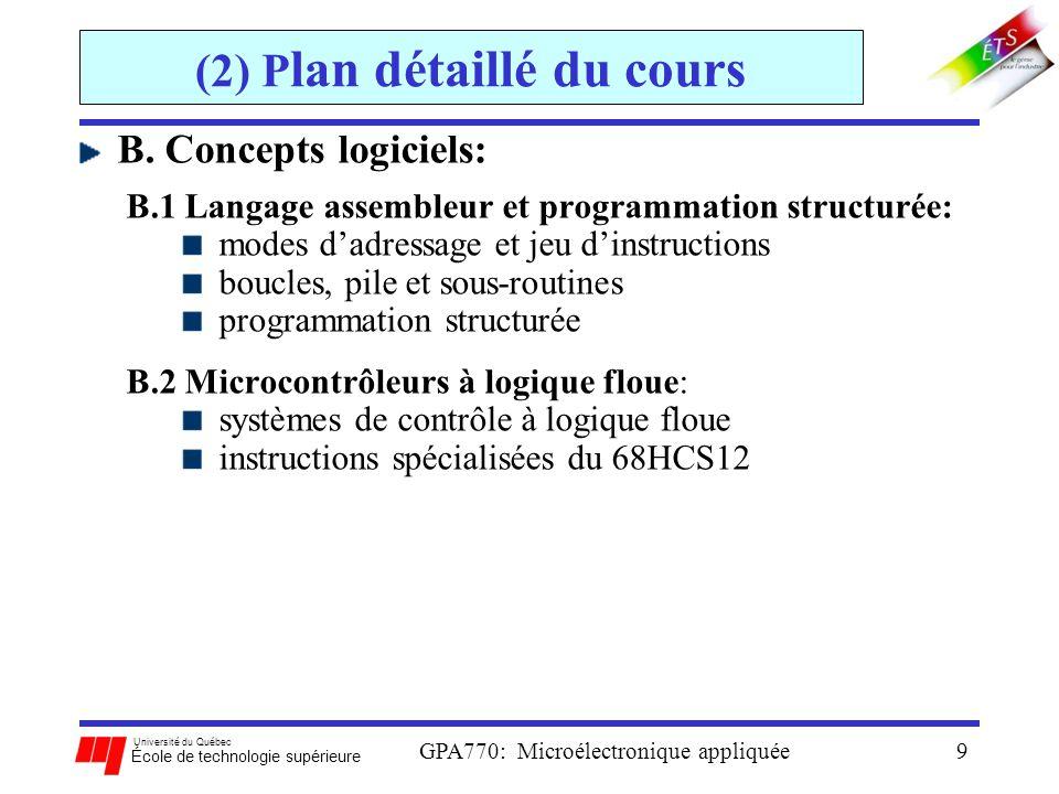 Université du Québec École de technologie supérieure GPA770: Microélectronique appliquée30 (4) Intro aux microcontrôleurs Microprocesseur: un circuit intégré qui comporte seulement un unité CPU Micro-ordinateur: une carte qui est composé de tous les composants dun SO, et qui utilise le microprocesseur comme CPU Microcontrôleur: un circuit intégré qui est composé de tous les composants dun SO contrôleur embarqué