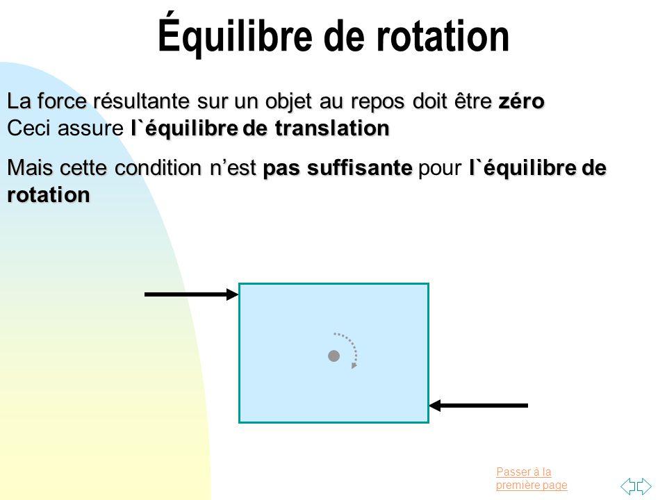 Passer à la première page Équilibre de rotation La force résultante sur un objet au repos doit être zéro l`équilibre de translation La force résultant