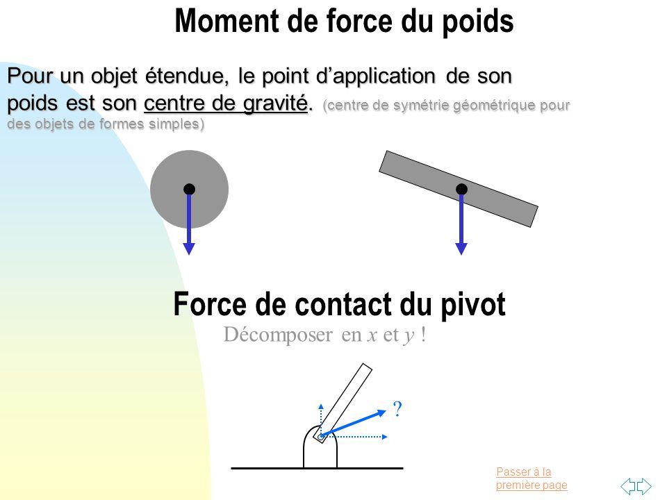 Passer à la première page Moment de force du poids Pour un objet étendue, le point dapplication de son poids est son centre de gravité. (centre de sym
