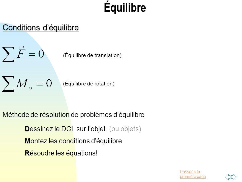 Passer à la première page Équilibre Conditions déquilibre (Équilibre de translation) (Équilibre de rotation) Méthode de résolution de problèmes déquil