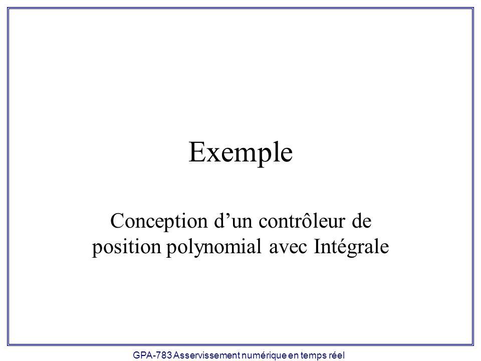 GPA-783 Asservissement numérique en temps réel Exemple Conception dun contrôleur de position polynomial avec Intégrale