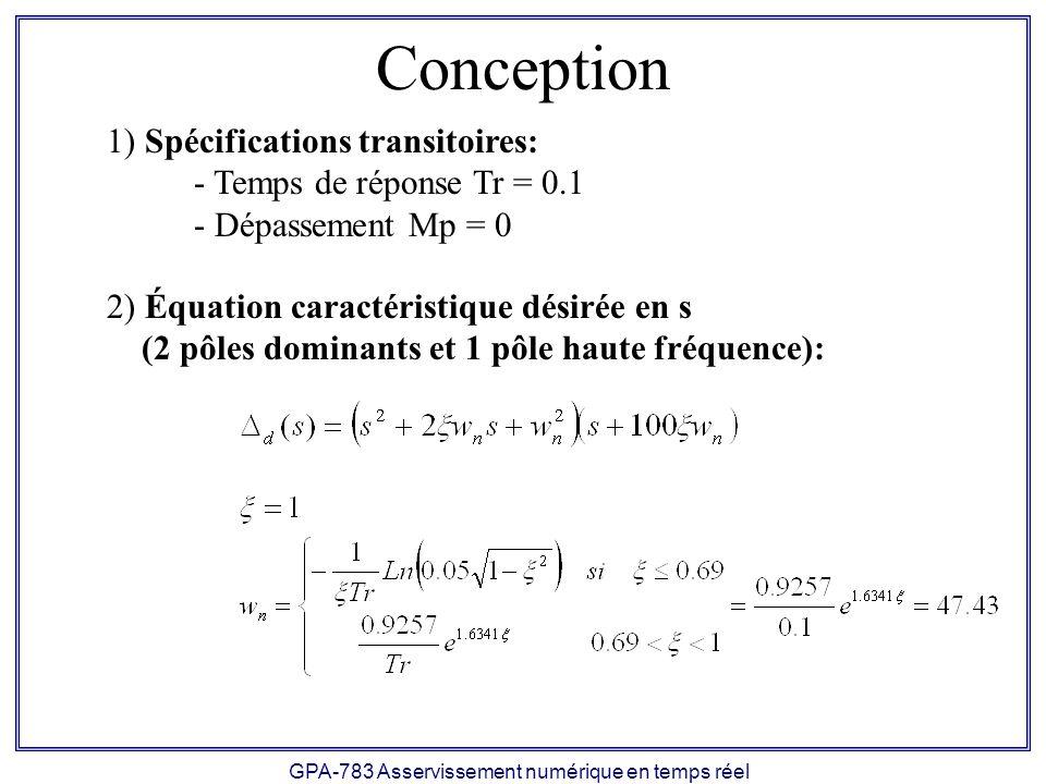 GPA-783 Asservissement numérique en temps réel Conception 1) Spécifications transitoires: - Temps de réponse Tr = 0.1 - Dépassement Mp = 0 2) Équation