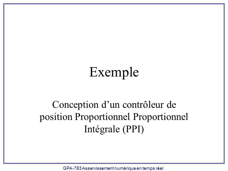 GPA-783 Asservissement numérique en temps réel Exemple Conception dun contrôleur de position Proportionnel Proportionnel Intégrale (PPI)