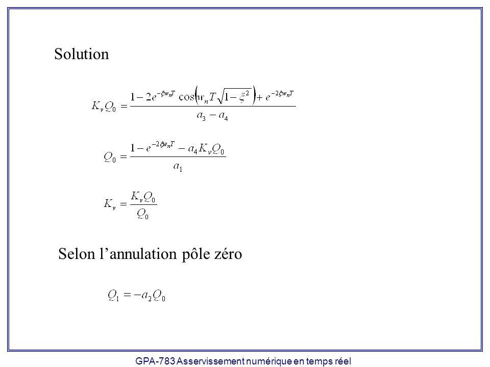 GPA-783 Asservissement numérique en temps réel Solution Selon lannulation pôle zéro