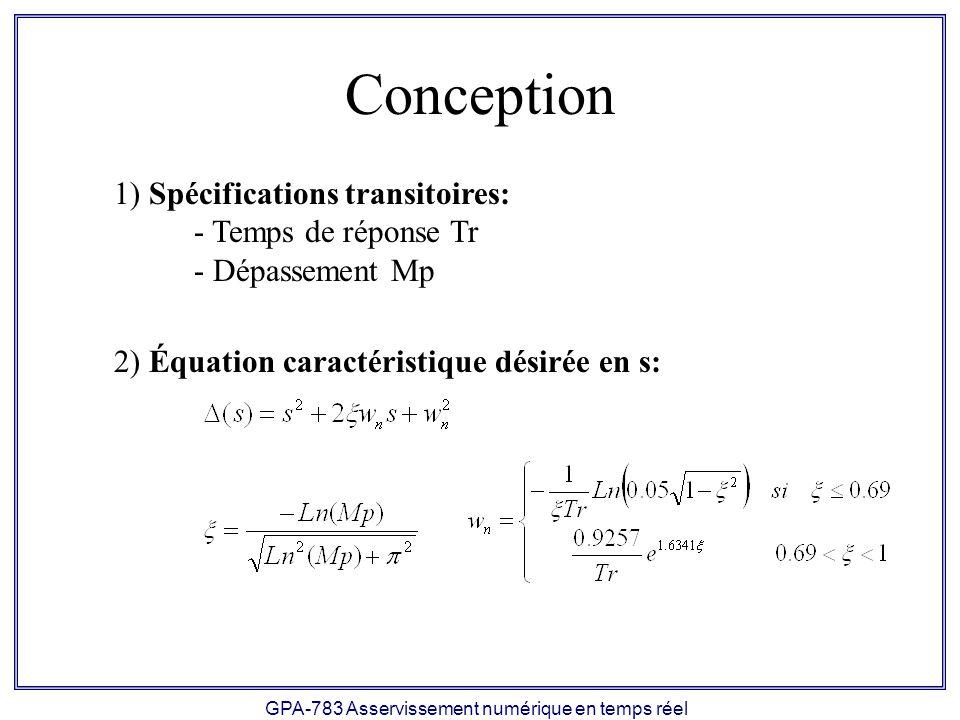 GPA-783 Asservissement numérique en temps réel Conception 1) Spécifications transitoires: - Temps de réponse Tr - Dépassement Mp 2) Équation caractéristique désirée en s: