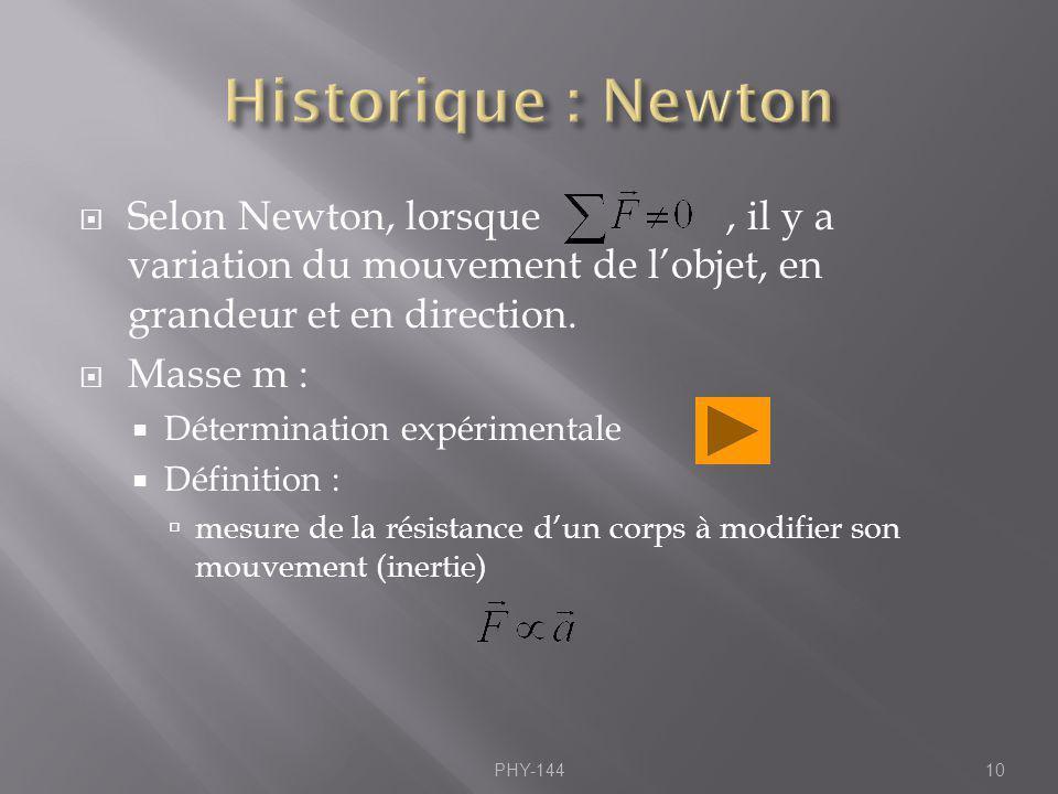 Selon Newton, lorsque, il y a variation du mouvement de lobjet, en grandeur et en direction. Masse m : Détermination expérimentale Définition : mesure