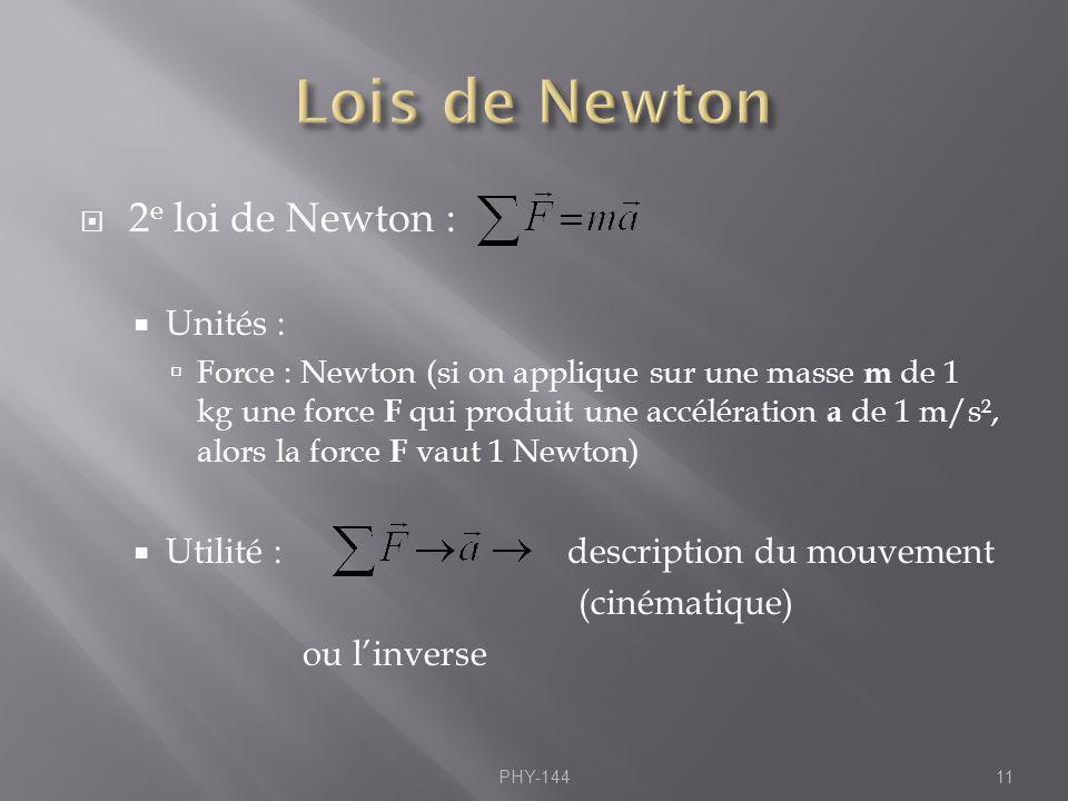 2 e loi de Newton : Unités : Force : Newton (si on applique sur une masse m de 1 kg une force F qui produit une accélération a de 1 m/s², alors la for