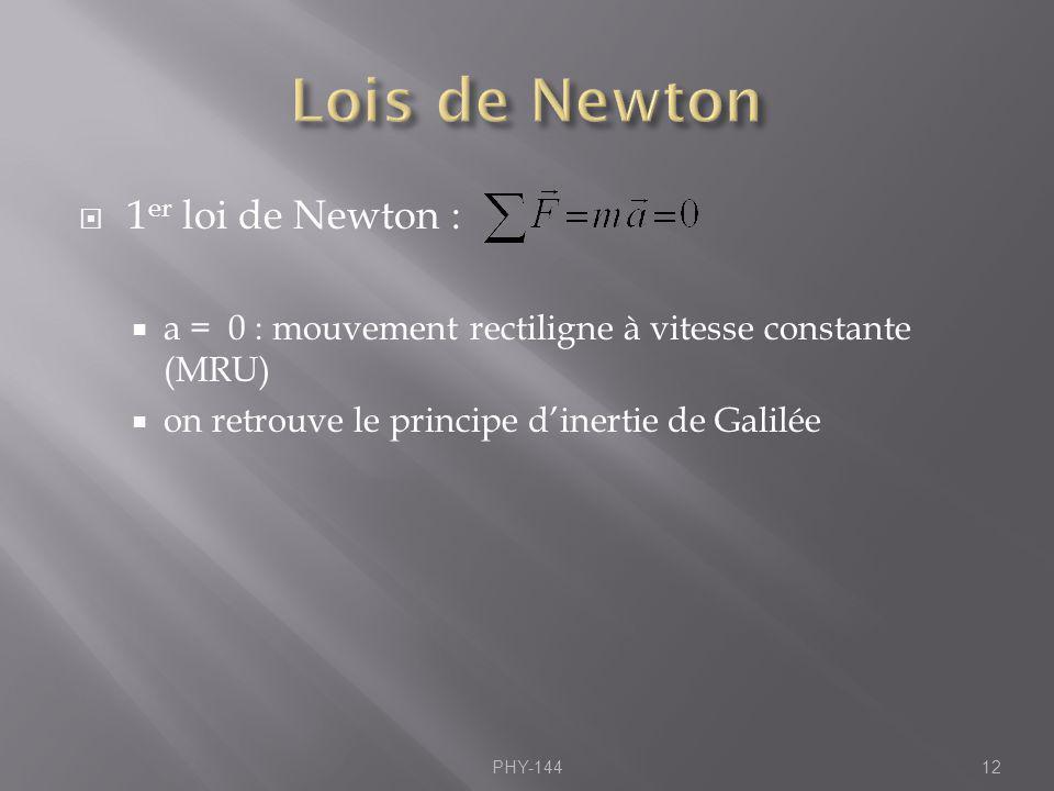 1 er loi de Newton : a = 0 : mouvement rectiligne à vitesse constante (MRU) on retrouve le principe dinertie de Galilée PHY-14412