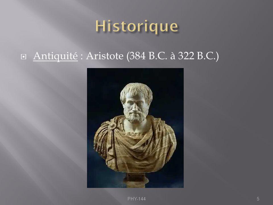 Antiquité : Aristote (384 B.C. à 322 B.C.) PHY-1445