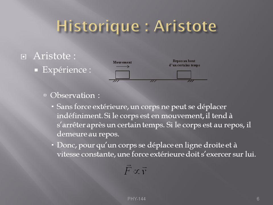 Aristote : Expérience : Observation : Sans force extérieure, un corps ne peut se déplacer indéfiniment. Si le corps est en mouvement, il tend à sarrêt