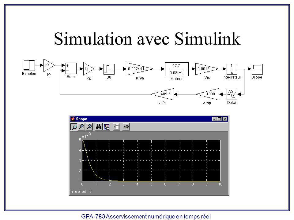 GPA-783 Asservissement numérique en temps réel Simulation avec Simulink
