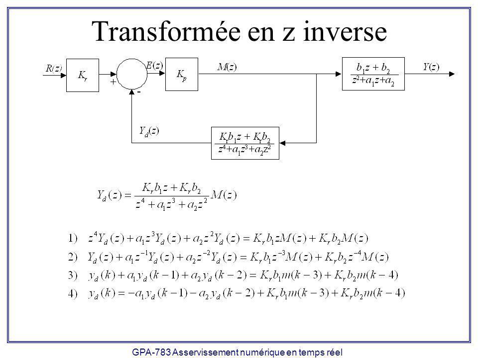 GPA-783 Asservissement numérique en temps réel Transformée en z inverse