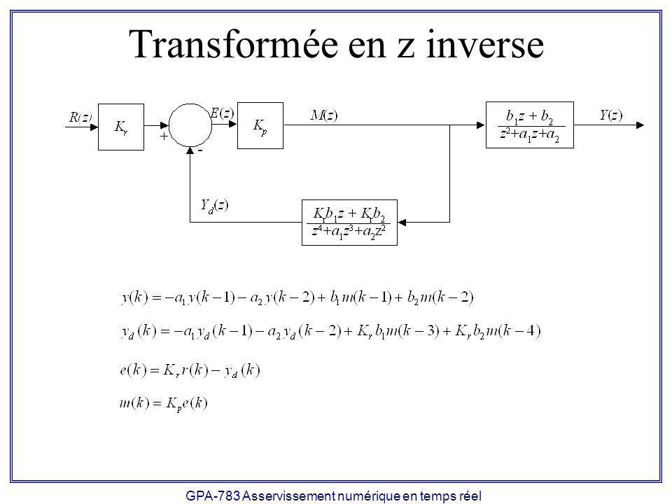 GPA-783 Asservissement numérique en temps réel Programme de simulation MATLAB %Periode d echantillonnage T = 0.05; %Nombre de periode d echantillonnage K = 100; %Constantes Kr = 409600; a2 = exp(-T/.08); a1 = -(1+a2); b1 =.00006913*(T-.08+.08*a2); b2 =.00006913*(.08-.08*a2-T*a2); %Gains proportionnel Kp = 0.06; %References r = 0.001*ones(K,1);