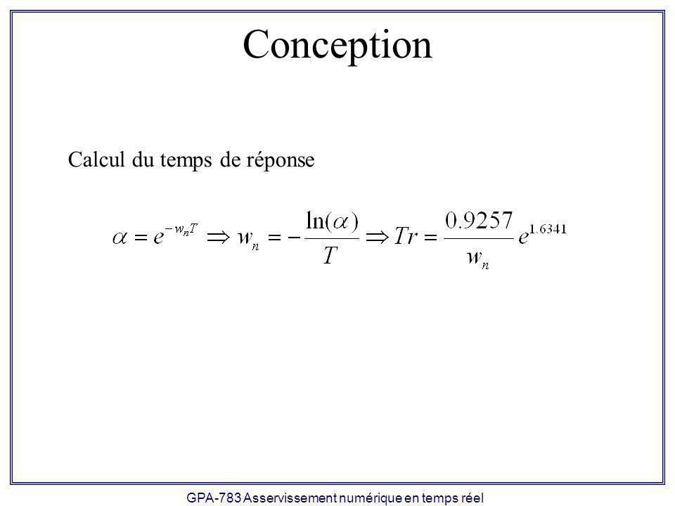 GPA-783 Asservissement numérique en temps réel Conception Calcul du temps de réponse