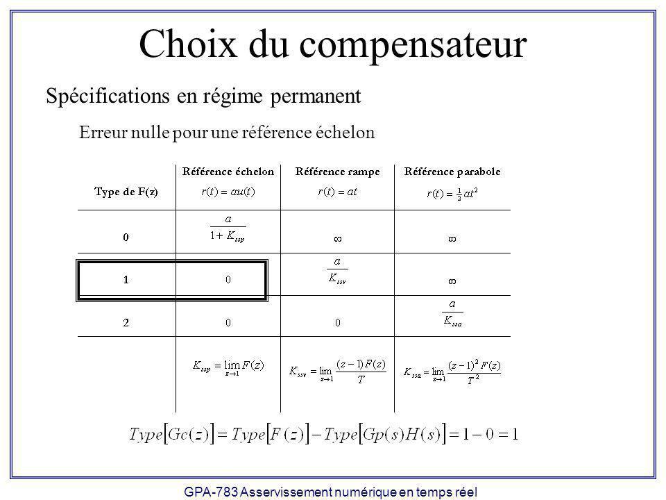 GPA-783 Asservissement numérique en temps réel Choix du compensateur Spécifications en régime permanent Erreur nulle pour une référence échelon