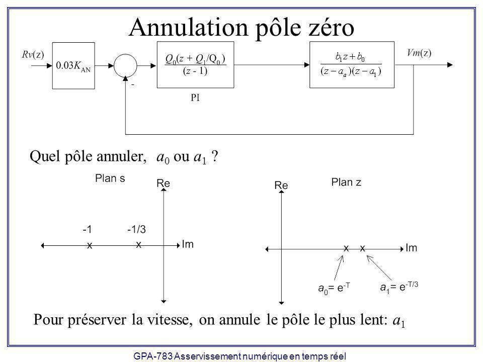 GPA-783 Asservissement numérique en temps réel Annulation pôle zéro Quel pôle annuler, a 0 ou a 1 .