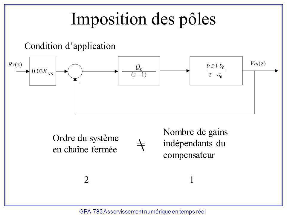 GPA-783 Asservissement numérique en temps réel Imposition partielle des pôles Un seule gain indépendant (Q 0 ) Imposition dune seule spécification transitoire: Un dépassement nul.