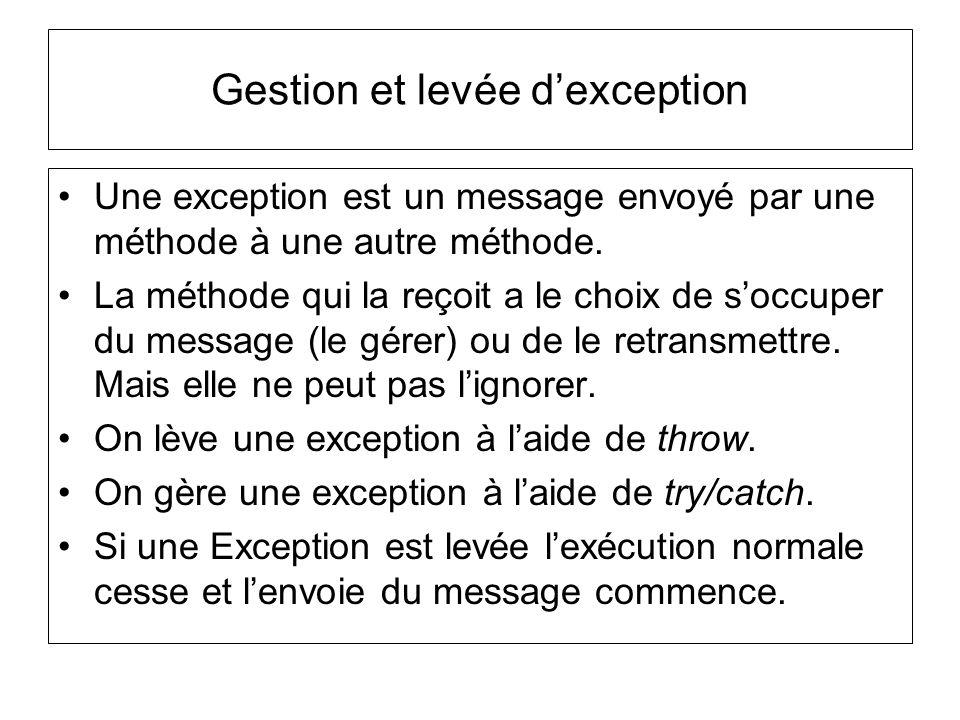 Gestion et levée dexception Une méthode qui lève une exception doit lannoncer dans son en-tête formelle à laide de throws suivi de(s) exception(s) qui peuvent être levées.