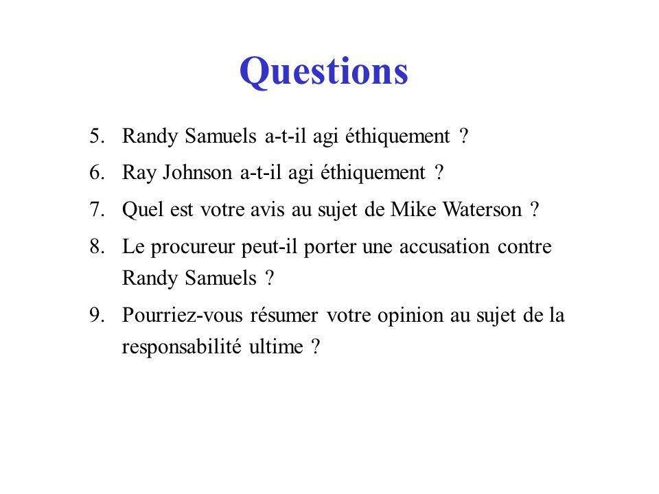 Questions 5.Randy Samuels a-t-il agi éthiquement .