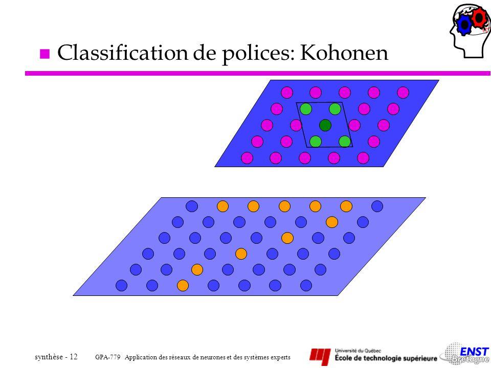 GPA-779 Application des réseaux de neurones et des systèmes experts synthèse - 12 n Classification de polices: Kohonen