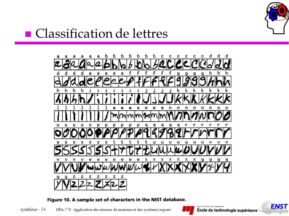 GPA-779 Application des réseaux de neurones et des systèmes experts synthèse - 14 n Classification de lettres