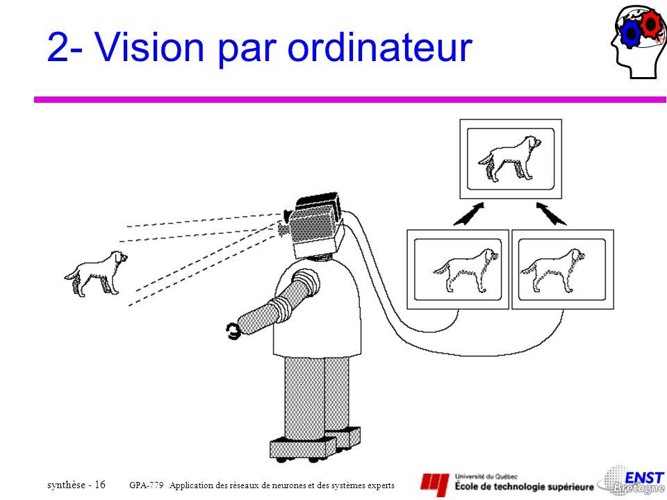 GPA-779 Application des réseaux de neurones et des systèmes experts synthèse - 16 2- Vision par ordinateur