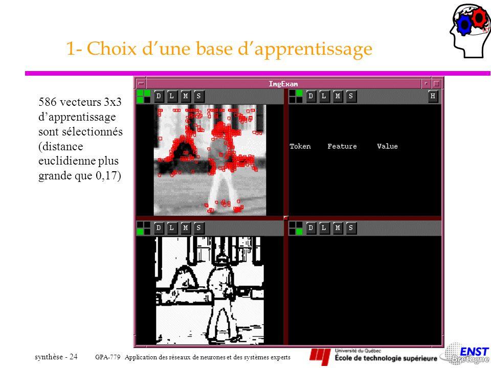 GPA-779 Application des réseaux de neurones et des systèmes experts synthèse - 24 1- Choix dune base dapprentissage 586 vecteurs 3x3 dapprentissage so
