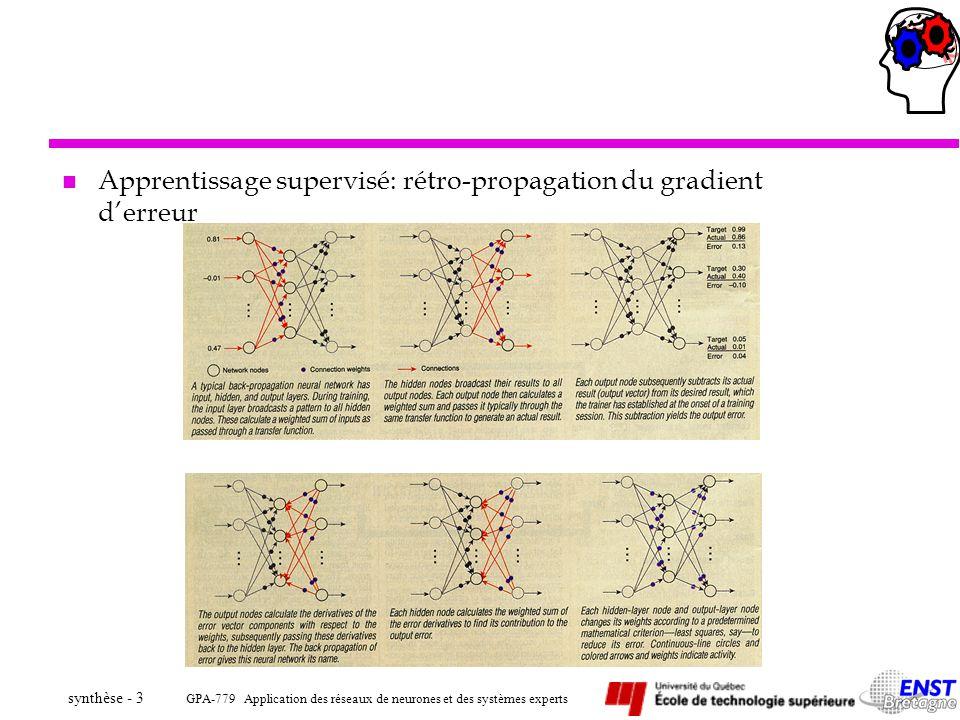 GPA-779 Application des réseaux de neurones et des systèmes experts synthèse - 64 ä Apprentissage –La base d apprentissage est constituée de l ensemble des modèles CAO convertis en modèle visuel perceptuel par géons ä Sortie –Chaque neurone de sortie pointe vers un des modèles CAO de la base de données.