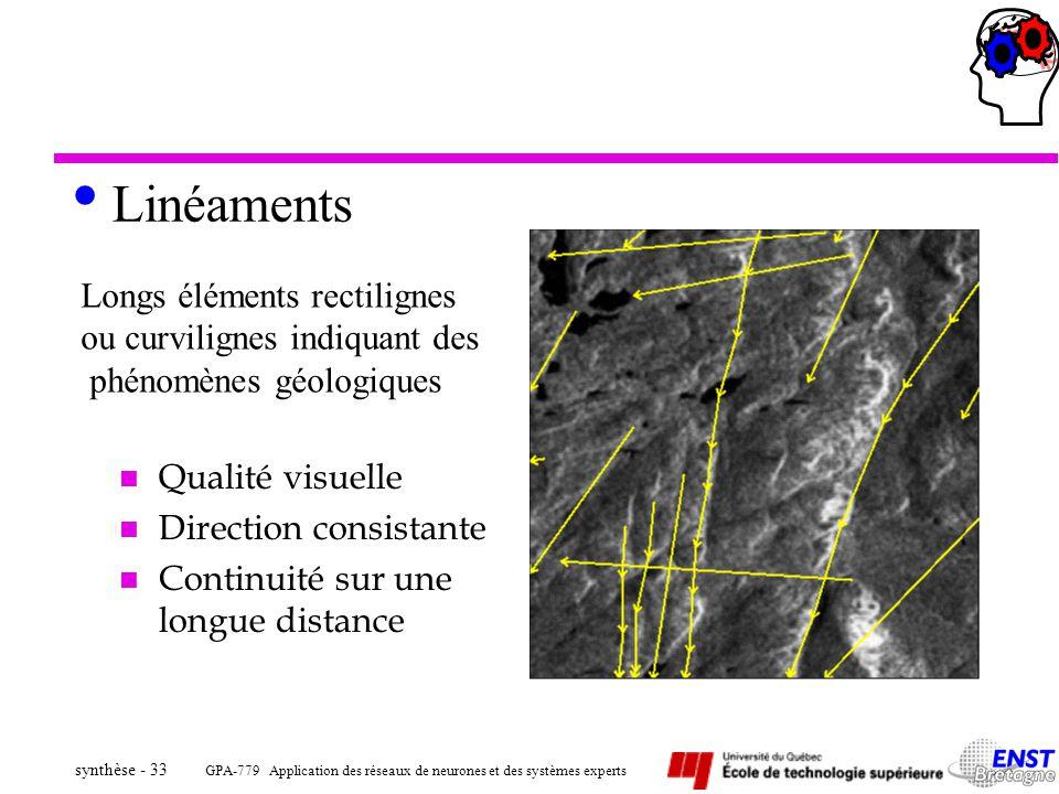 GPA-779 Application des réseaux de neurones et des systèmes experts synthèse - 33 Linéaments n Qualité visuelle n Direction consistante n Continuité s