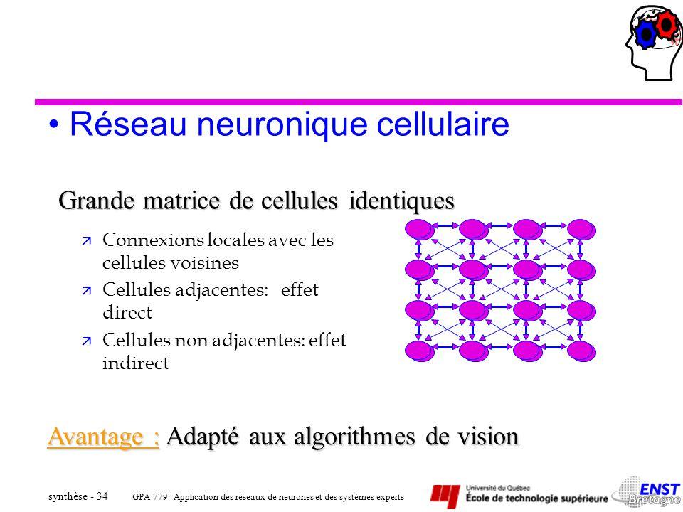 GPA-779 Application des réseaux de neurones et des systèmes experts synthèse - 34 Réseau neuronique cellulaire Grande matrice de cellules identiques ä
