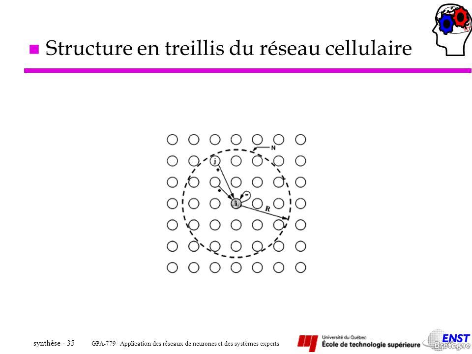 GPA-779 Application des réseaux de neurones et des systèmes experts synthèse - 35 n Structure en treillis du réseau cellulaire