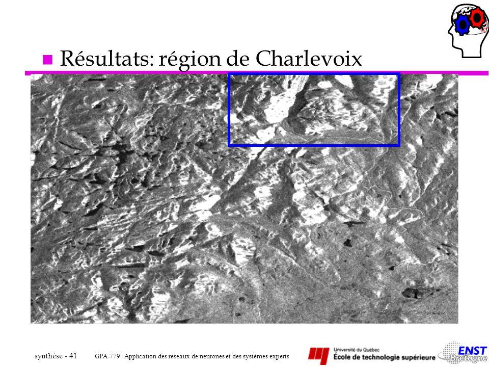 GPA-779 Application des réseaux de neurones et des systèmes experts synthèse - 41 n Résultats: région de Charlevoix