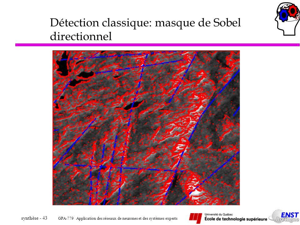 GPA-779 Application des réseaux de neurones et des systèmes experts synthèse - 43 Détection classique: masque de Sobel directionnel