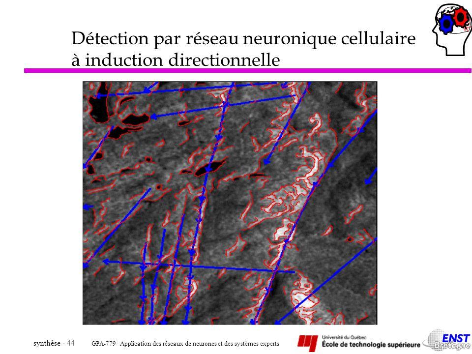 GPA-779 Application des réseaux de neurones et des systèmes experts synthèse - 44 Détection par réseau neuronique cellulaire à induction directionnell