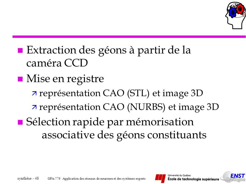 GPA-779 Application des réseaux de neurones et des systèmes experts synthèse - 48 n Extraction des géons à partir de la caméra CCD n Mise en registre