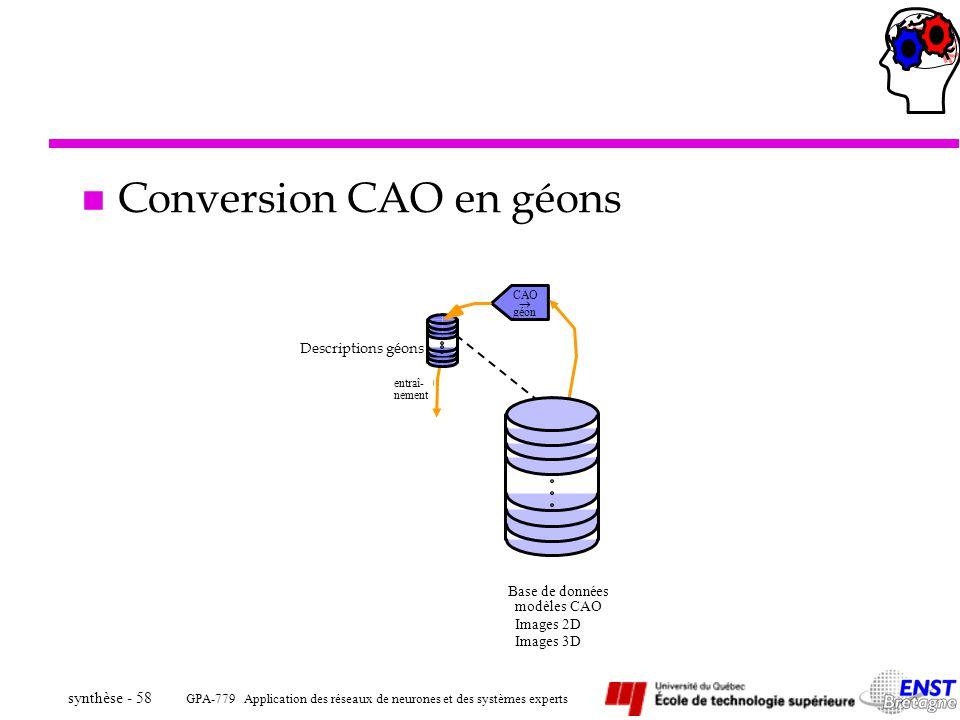 GPA-779 Application des réseaux de neurones et des systèmes experts synthèse - 58 entraî- Base de données modèles CAO Images 2D Images 3D CAO géon nem