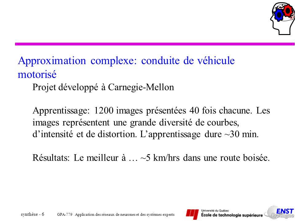 GPA-779 Application des réseaux de neurones et des systèmes experts synthèse - 67 ä Mise en registre –Les mesures 3D provenant de la caméra 3D par balayage laser sont comparées avec chacun des modèles CAO identifiés par le réseau associatif –Chacun des modèles CAO est transformé pour minimiser un signal d appariement –Un rapport d inspection est généré à la suite des mesures de comparaison avec le modèle CAO finalement sélectionné