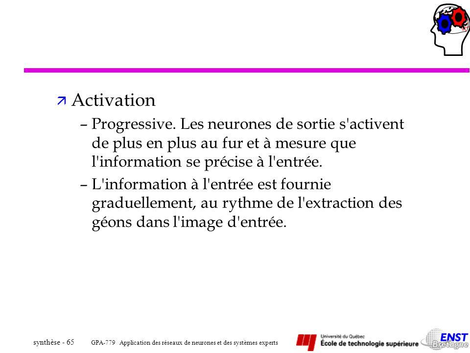 GPA-779 Application des réseaux de neurones et des systèmes experts synthèse - 65 ä Activation –Progressive. Les neurones de sortie s'activent de plus