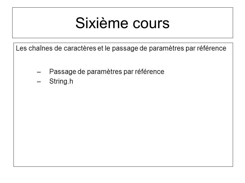 Sixième cours Les chaînes de caractères et le passage de paramètres par référence –Passage de paramètres par référence –String.h