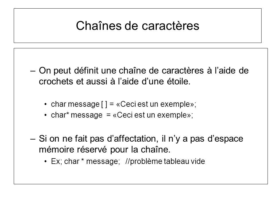 Chaînes de caractères –On peut définit une chaîne de caractères à laide de crochets et aussi à laide dune étoile. char message [ ] = «Ceci est un exem