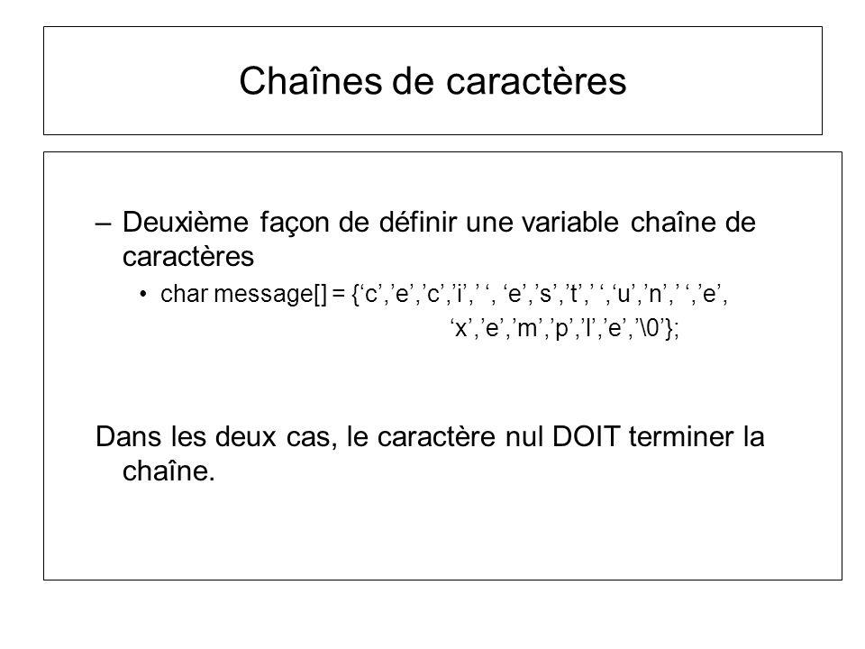 Chaînes de caractères –Deuxième façon de définir une variable chaîne de caractères char message[] = {c,e,c,i,, e,s,t,,u,n,,e, x,e,m,p,l,e,\0}; Dans le