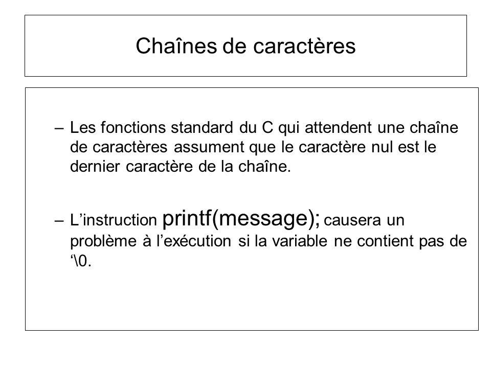 Chaînes de caractères –Les fonctions standard du C qui attendent une chaîne de caractères assument que le caractère nul est le dernier caractère de la