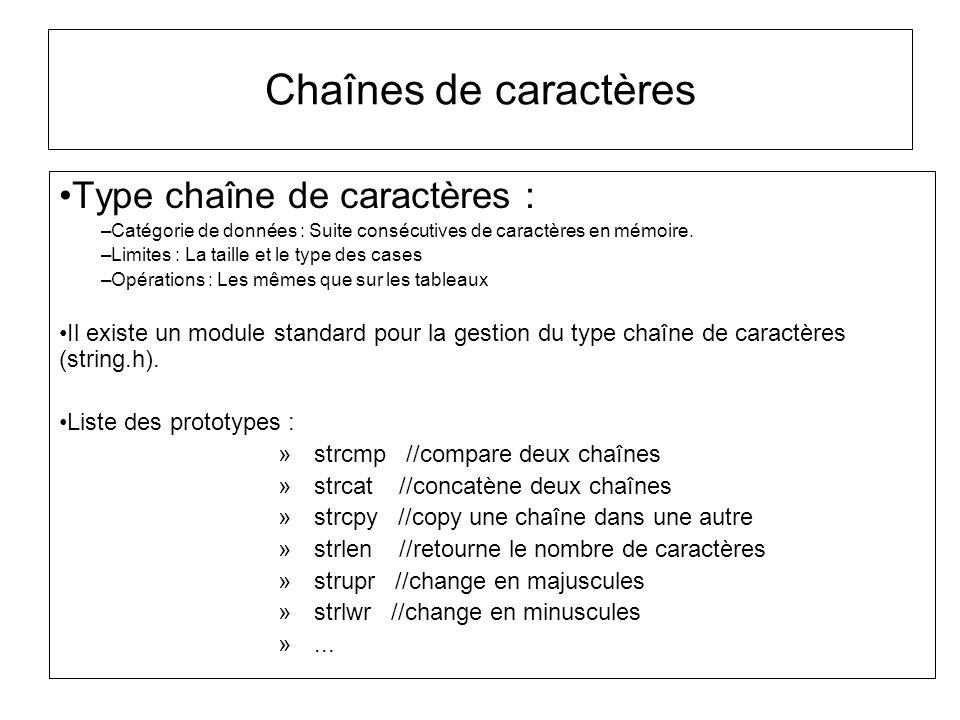Chaînes de caractères Type chaîne de caractères : –Catégorie de données : Suite consécutives de caractères en mémoire. –Limites : La taille et le type