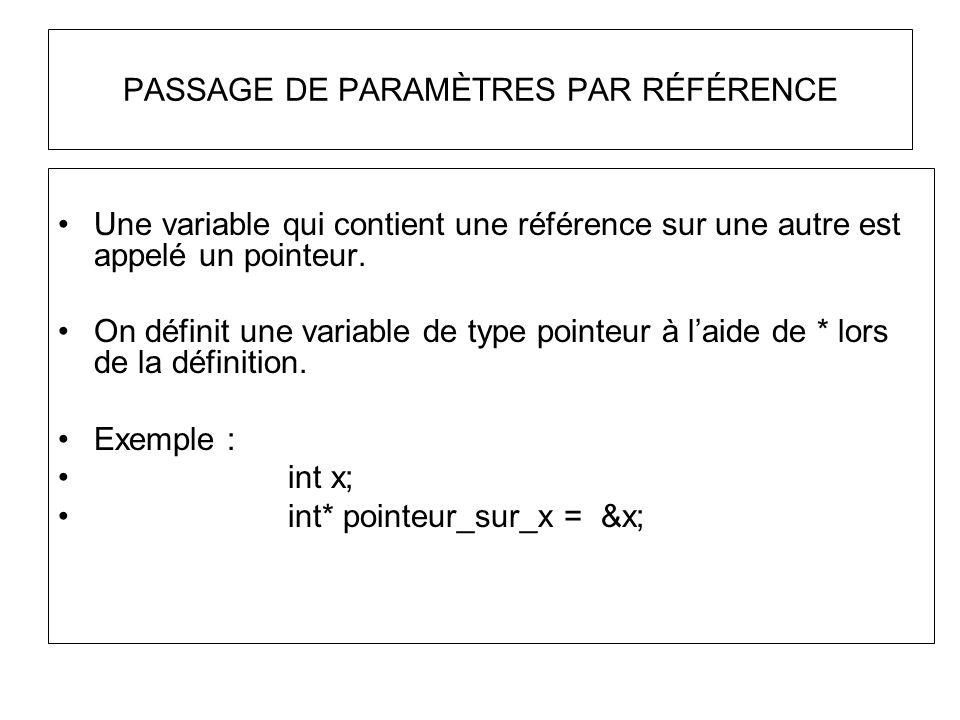 PASSAGE DE PARAMÈTRES PAR RÉFÉRENCE Une variable qui contient une référence sur une autre est appelé un pointeur. On définit une variable de type poin