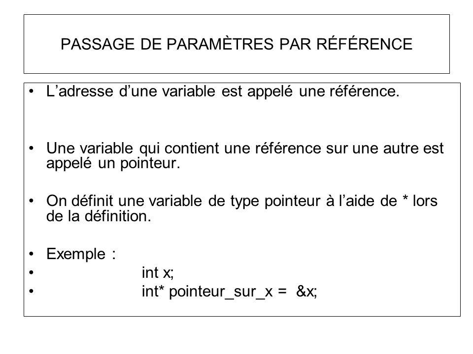 PASSAGE DE PARAMÈTRES PAR RÉFÉRENCE Ladresse dune variable est appelé une référence. Une variable qui contient une référence sur une autre est appelé