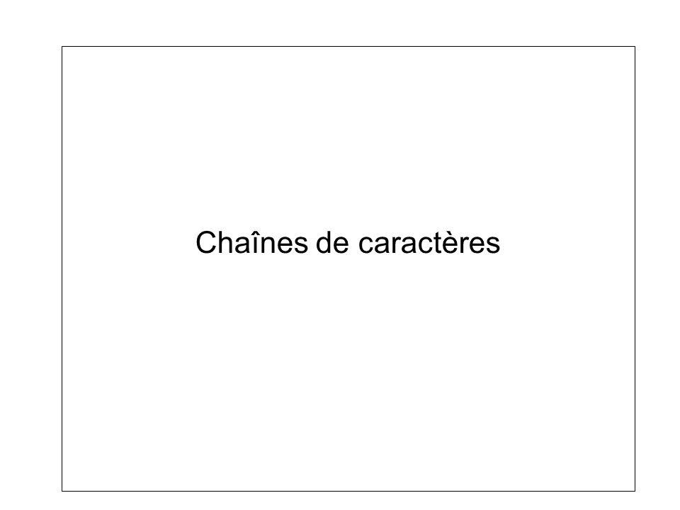 Les chaînes de caractères.–On appelle le caractère 0 (\0) le caractère nul.