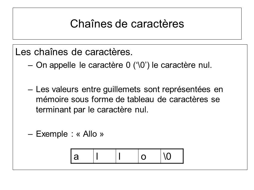 Les chaînes de caractères. –On appelle le caractère 0 (\0) le caractère nul. –Les valeurs entre guillemets sont représentées en mémoire sous forme de