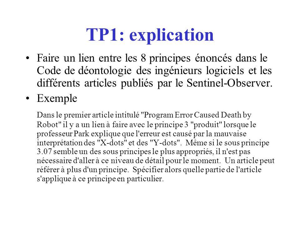TP1: explication Faire un lien entre les 8 principes énoncés dans le Code de déontologie des ingénieurs logiciels et les différents articles publiés par le Sentinel-Observer.
