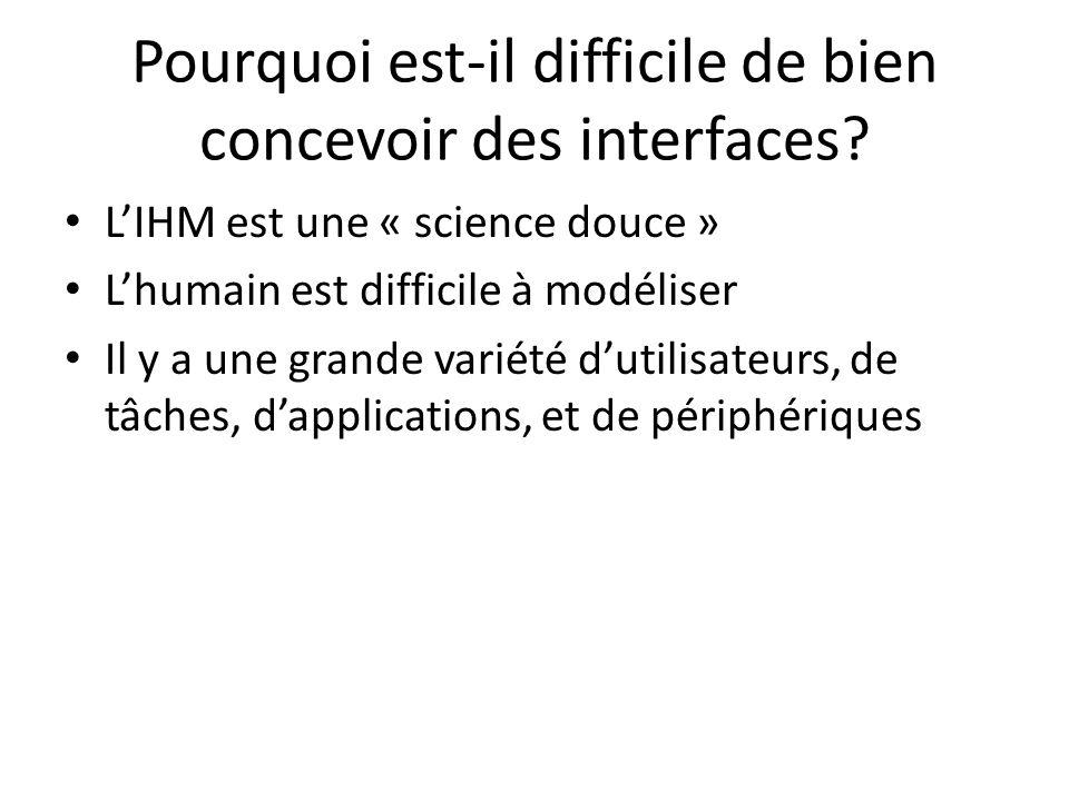 Pourquoi est-il difficile de bien concevoir des interfaces? LIHM est une « science douce » Lhumain est difficile à modéliser Il y a une grande variété